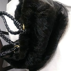 New large Paolo Masi Black Mink Handbag